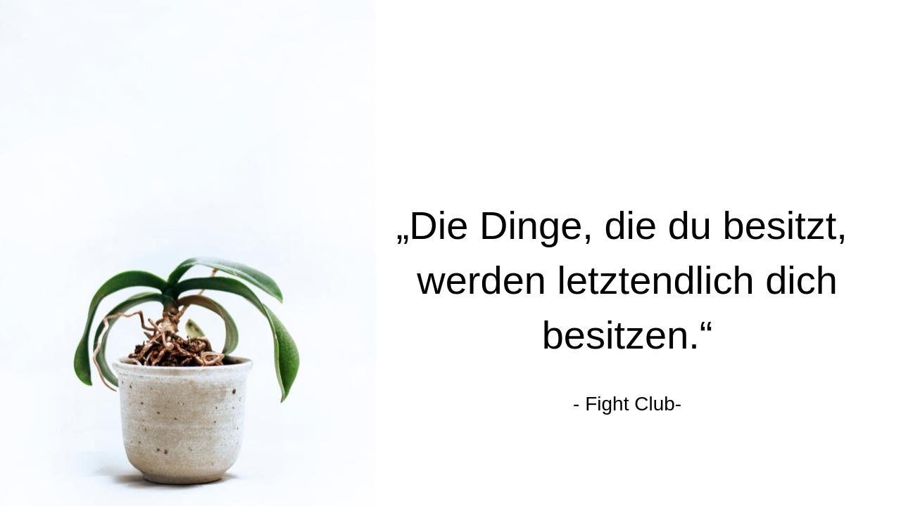 Minimalismus und das Gefühl von Freiheit Zitat aus Fight Club: Die Dinge, die du besitzt, werden letztendlich dich besitzen.