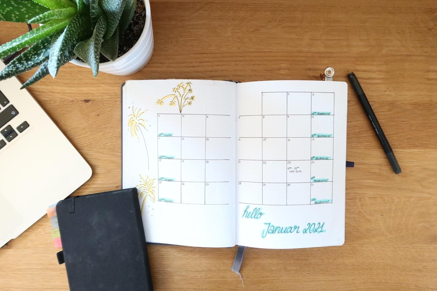 Monatsübersicht Bullet Journal 2021